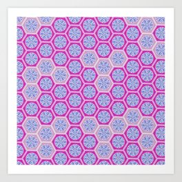 Hexagonal Dreams - Pink & Purple Art Print