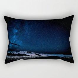 Milky Way Night Mountain Landscape Rectangular Pillow