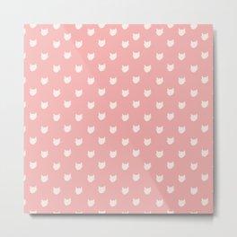 Dainty pink Cats Pattern Metal Print