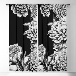 FLOWERS IN BLACK AND WHITE Blackout Curtain