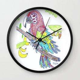 Scarlett Macaw Wall Clock