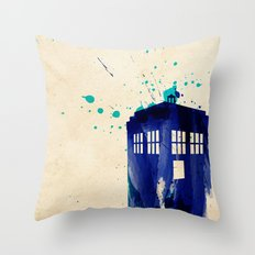 Doctor Who TARDIS Rustic Throw Pillow
