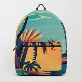 Sunset Beach Illustration Backpack