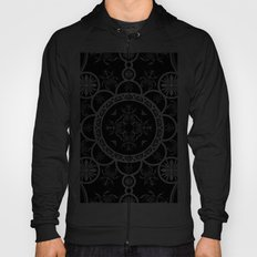 Scarab tile line pattern with black Background Hoody