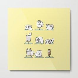 Toilet Paper Yoga Metal Print