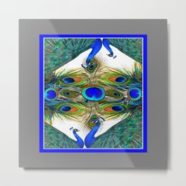 SITTING BLUE PEACOCKS FEATHER PATTERNS ART Metal Print