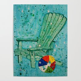Turquoise Adirondack Beach Chair With Beach Ball Poster