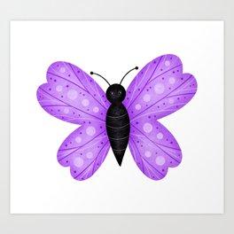 Cute Purple and Black Butterfly Art Print