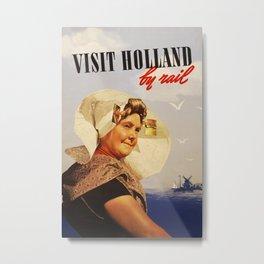 Visit Holland by Rail Vintage Travel Poster Metal Print