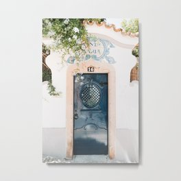 White Portuguese House with Blue Front Door in Cascais, Portugal | Travel Photography | Metal Print
