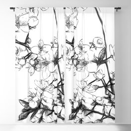 Cherry Blossoms Minimal Drawing Blackout Curtain