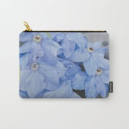 Blue Clematis Flowers on Knotted Fence Post Carry-All Pouch