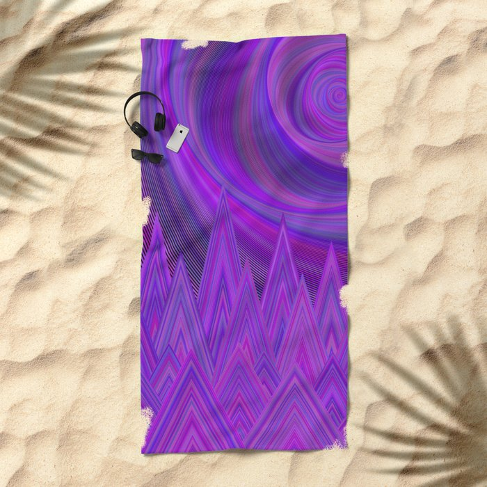 Purple mountains Beach Towel