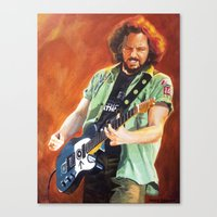 eddie vedder Canvas Prints featuring Eddie Vedder by Rhys Barney