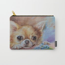 Chihuahua dog portrait with blue flowers Cute pet painting Puppy and nots Carry-All Pouch