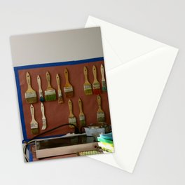 Paint Brushes and the Artist's Studio Setup Stationery Cards