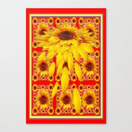 Surreal Shedding Sunflower  Red-Black-Yellow Patterns Canvas Print