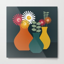 Flower Vases on Dark Background Metal Print