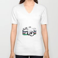 camera V-neck T-shirts featuring Camera by Mariam Tronchoni