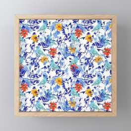 Indigo Bunting Floral Framed Mini Art Print