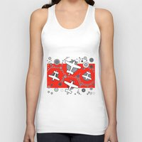 airplanes Tank Tops featuring airplanes in red by Isabella Asratyan