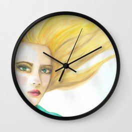 Emily in the Wind Original Watercolor Portrait Wall Clock