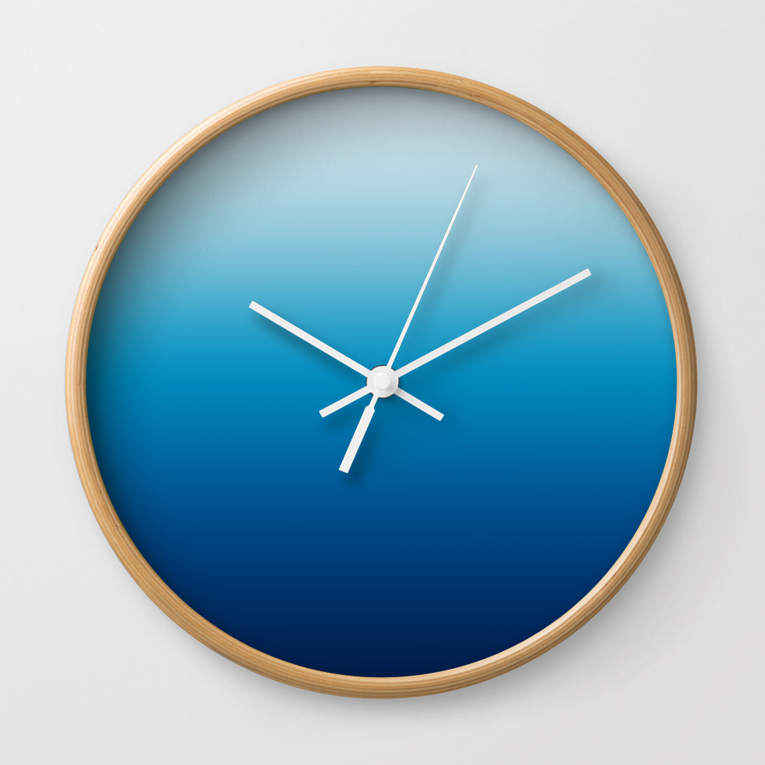 Sky and Ocean Blue Ombre Wall Clock by annaleeblysse