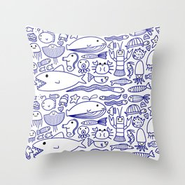 Lines Under the Sea Throw Pillow