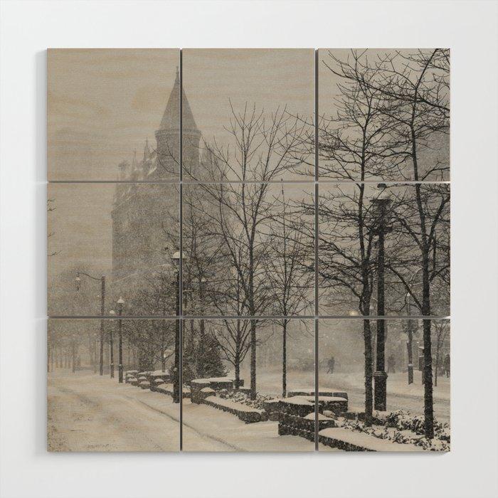 Toronto Flatiron Building in Winter Wood Wall Art