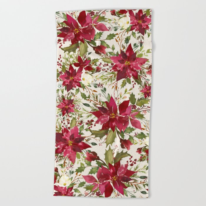 Poinsettia Flower Of The Holy Night Beach Towel By Magic Dreams Society6