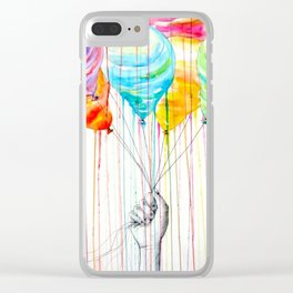 Balloons Watercolor Clear iPhone Case