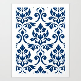 Feuille Damask Pattern Dark Blue on White Art Print