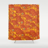 goldfish Shower Curtains featuring Goldfish by Monty
