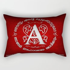 Joshua 24:15 - (Silver on Red) Monogram A Rectangular Pillow