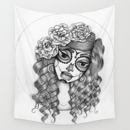 JennyMannoArt Graphite Illustration/Dias de los Muertos Wall Tapestry