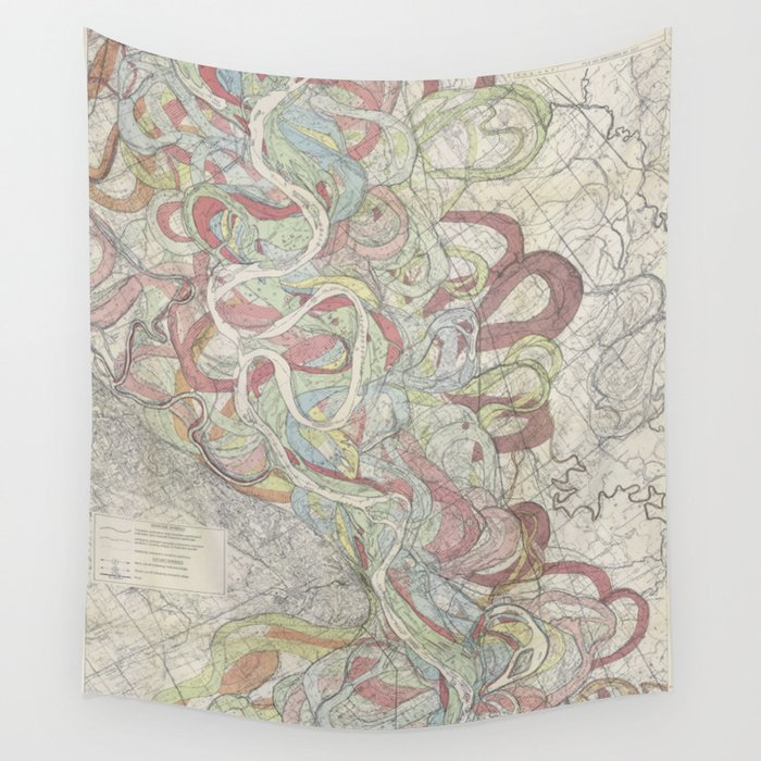 Beautiful Map Of The Lower Mississippi River Wall Tapestry By - Mississippi river map