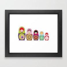 Russian dolls kawaii Framed Art Print