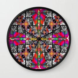 Criss Cross pattern hot pink Wall Clock