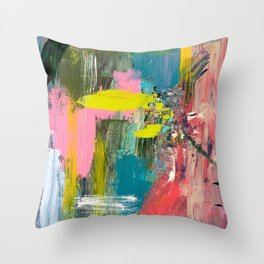 Collision - a bright abstract with pinks, greens, blues, and yellow Throw Pillow