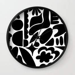 Modern Organic Bold Botanical Abstract / Black and White Wall Clock