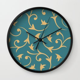 Baroque Design – Gold on Teal Wall Clock