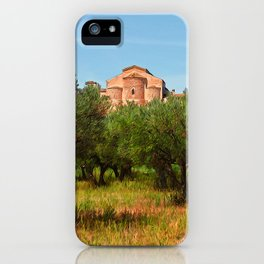 Medieval Abbey among olive trees in Italy iPhone Case