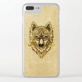 Tribal Wolf Burn Edge on canvas Clear iPhone Case