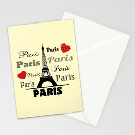 Paris text design illustration 2 Stationery Cards