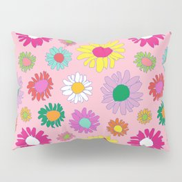 60's Daisy Crazy in Mod Pink Pillow Sham