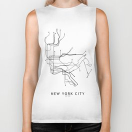 New York City White Subway Map Biker Tank