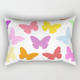 Multicoloured Butterflies Pattern Rectangular Pillow