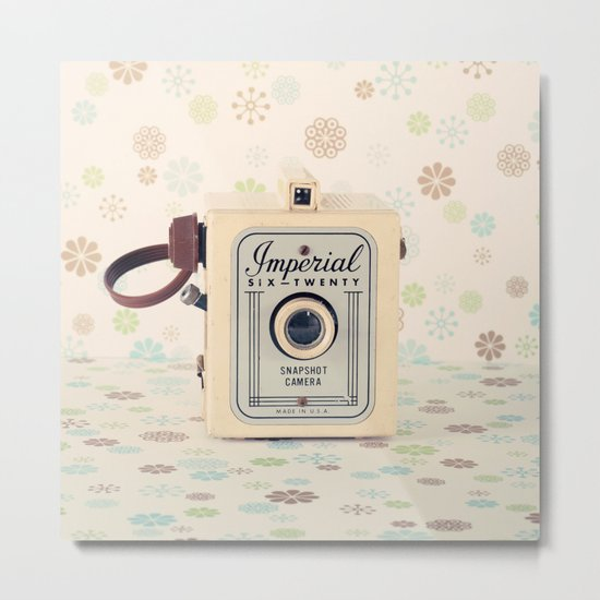 Retro Film Camera on Beige - Cream Pattern Background  Metal Print