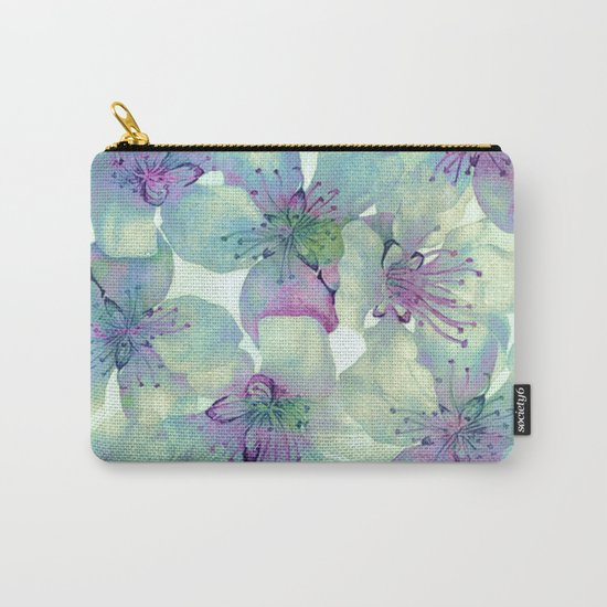 soft floral with purple Carry-All Pouch