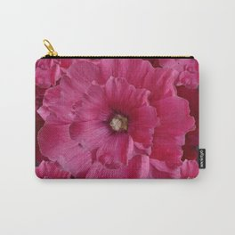 FUCHSIA-PINK  DOUBLE  HOLLYHOCK FLOWERS GARDEN Carry-All Pouch